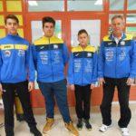 Strijelci streljačkog kluba rovinj Rafael Zaharija, Nereo Cafolla, Mateo Cerin i trener Goran Martinović
