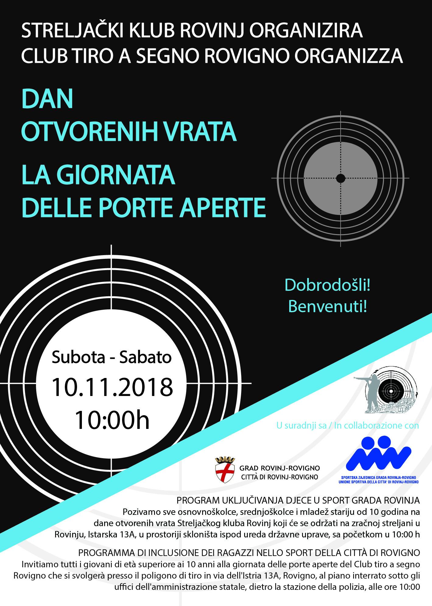 Uključivanje djece u sport Grada Rovinja-Rovigno – dani otvorenih vrata 10.11.2018. godine